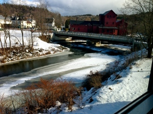The view of the red mill building, part of the Vermont Studio Center. The site of my tranquil rebellion