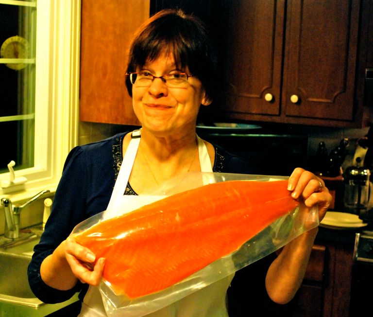 My mother, with a salmon.