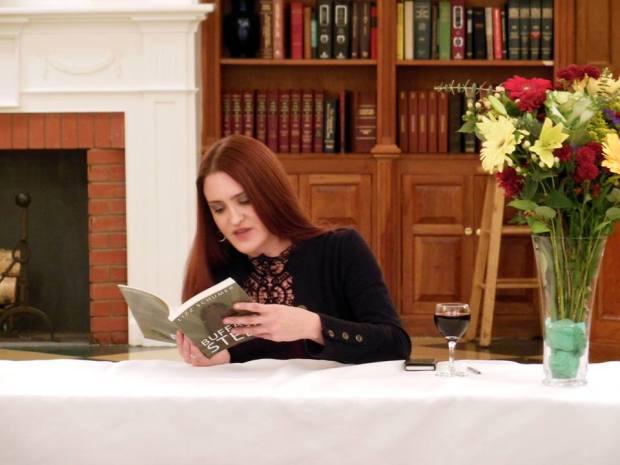 "Me reading from ""Buffalo Steel."""