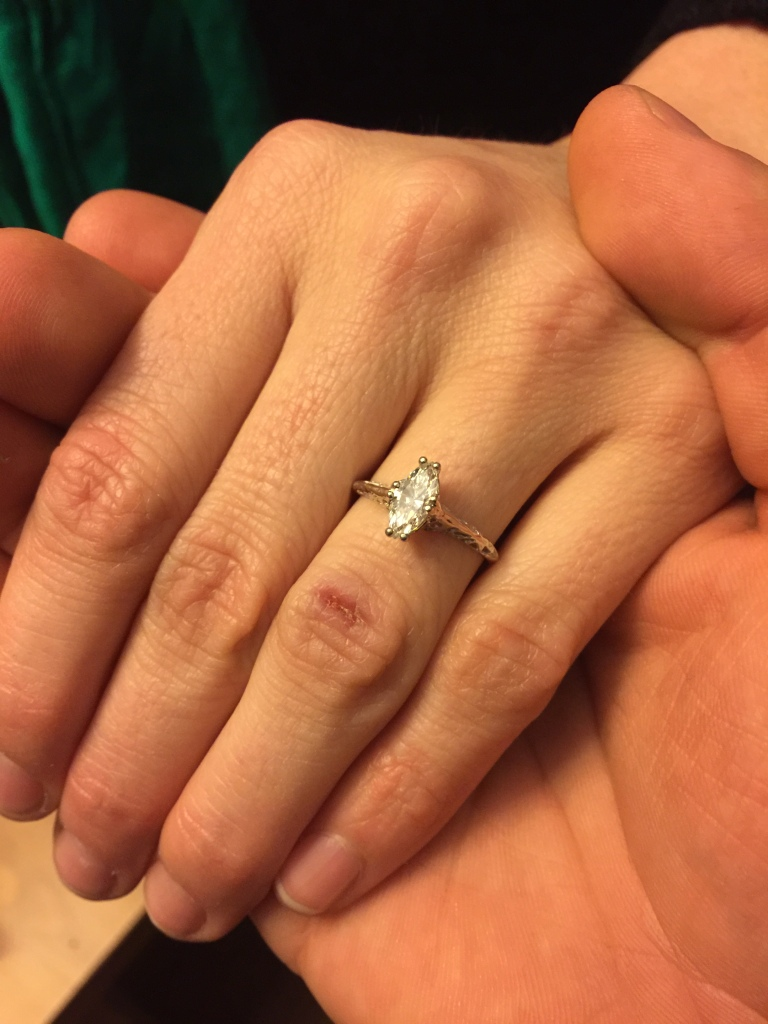 Nick proposed with a vintage 1920s cruelty-free ring, something he knows is important to me.