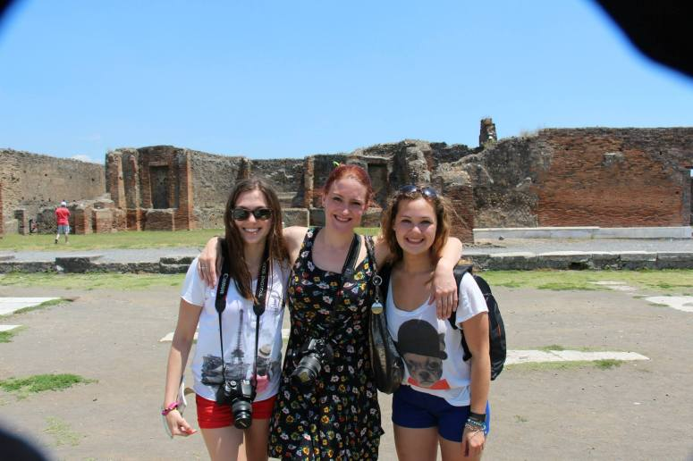 Here I am with two of my students in Pompeii, circa 2013